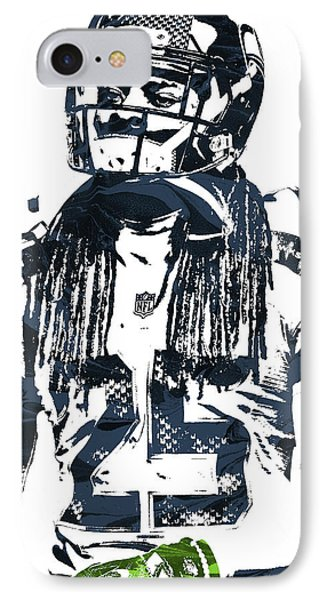 Richard Sherman Seattle Seahawks Pixel Art 4 IPhone Case by Joe Hamilton