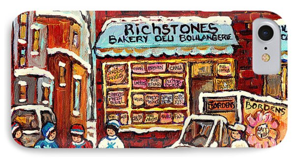 Richstone Bakery Montreal Memories Borden's Milk Truck Street Hockey Art Carole Spandau              IPhone Case by Carole Spandau