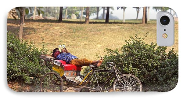 Rickshaw Rider Relaxing IPhone Case by Travel Pics