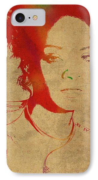 Rihanna Watercolor Portrait IPhone Case by Design Turnpike