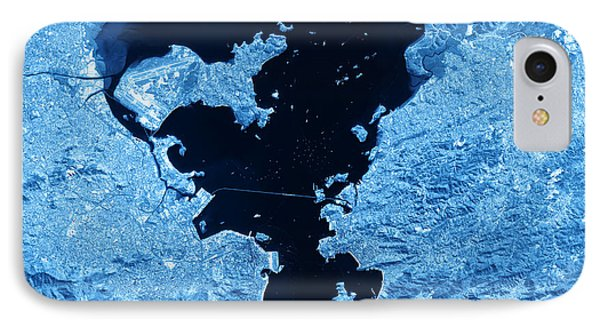 Rio De Janeiro Topographic Map Blue Color Top View IPhone Case by Frank Ramspott