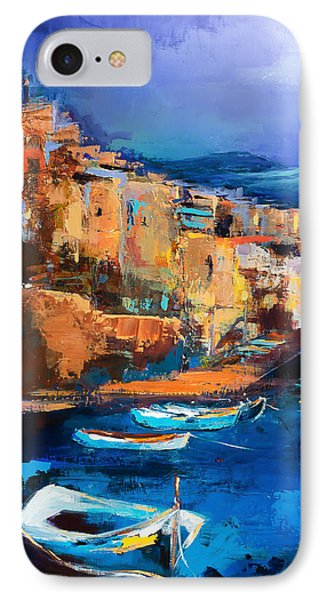 IPhone Case featuring the painting Riomaggiore - Cinque Terre by Elise Palmigiani