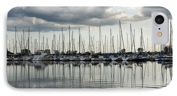 Ripples And Reflections - Ominous Gray Clouds At A Marina IPhone Case