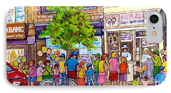 Ripples Ice Cream Shop Rue St Laurent Street Party Balloon Fun Montreal Art Carole Spandau IPhone Case by Carole Spandau