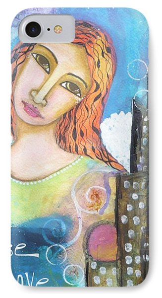 IPhone Case featuring the painting Rise Above Because You Are An Angel by Prerna Poojara