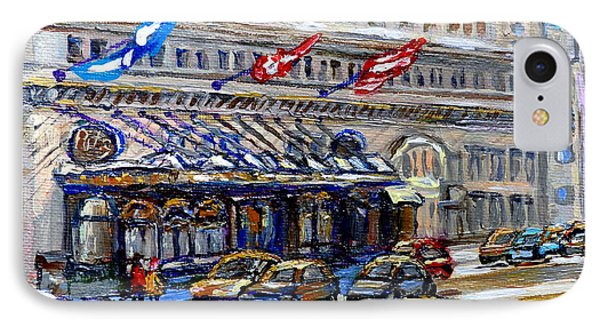 Ritz Carlton Paintings Montreal Memories 3 Flags Rue Sherbrooke Best Canadian Original Art For Sale  IPhone Case by Carole Spandau