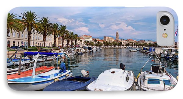 Riva Waterfront, Houses And Cathedral Of Saint Domnius, Dujam, Duje, Bell Tower Old Town, Split, Croatia IPhone Case by Elenarts - Elena Duvernay photo