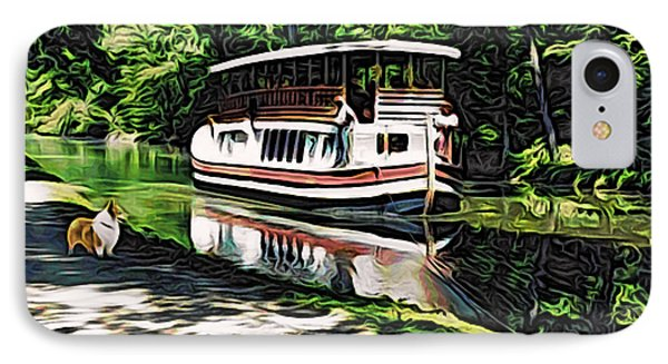 IPhone Case featuring the digital art River Boat With Welsh Corgi by Kathy Kelly