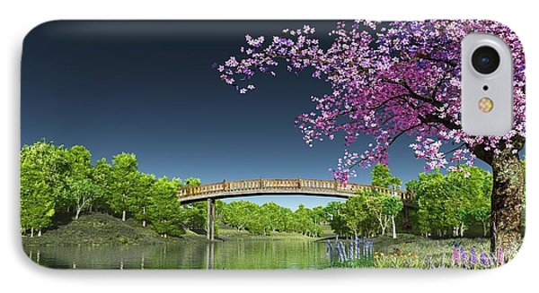 River Bridge Cherry Tree Blosson IPhone Case by Walter Colvin