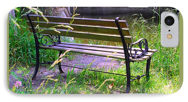 River Fishing Bench IPhone Case by Corey Ford