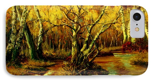 IPhone Case featuring the painting River In The Forest by Henryk Gorecki