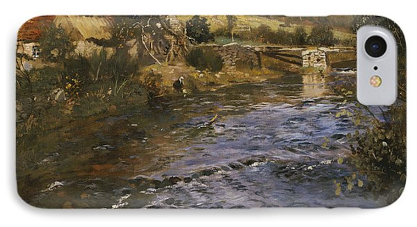 River Landscape With A Washerwoman  Phone Case by Fritz Thaulow