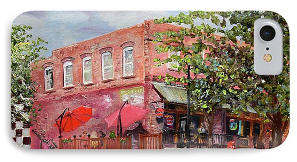 IPhone Case featuring the painting River Street Tavern-ellijay, Ga - Cheers by Jan Dappen