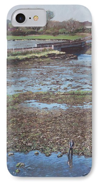 IPhone Case featuring the painting River Test At Totton Southampton by Martin Davey