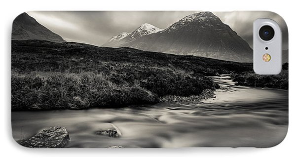 River To The Buachaille IPhone Case by Dave Bowman