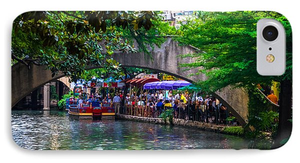 River Walk Dining IPhone Case by Ed Gleichman