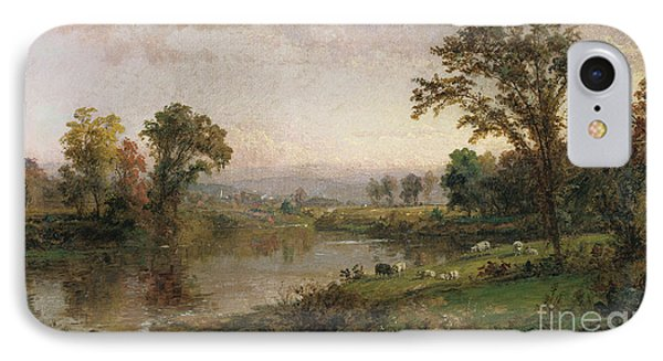 Riverscape In Early Autumn IPhone Case by Jasper Francis Cropsey