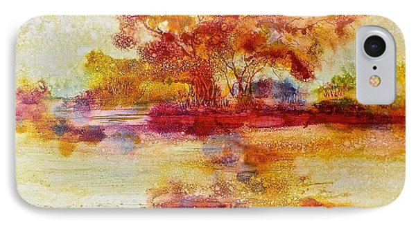 Riverscape In Red IPhone Case by Carolyn Rosenberger