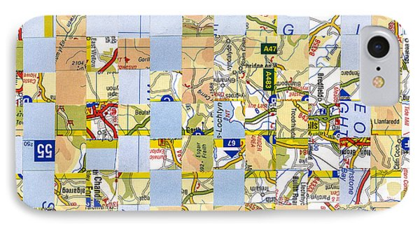 IPhone Case featuring the mixed media Road Map by Jan Bickerton