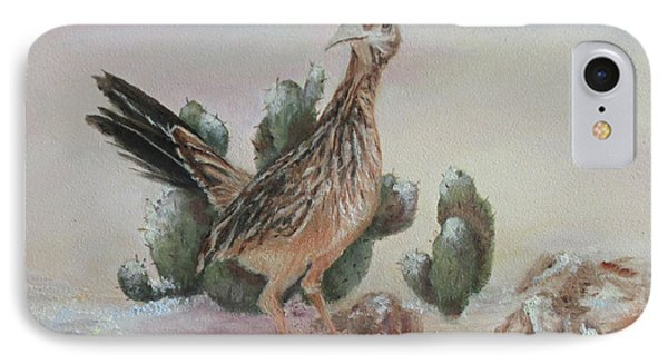 IPhone Case featuring the painting Roadrunner In Snow by Roseann Gilmore