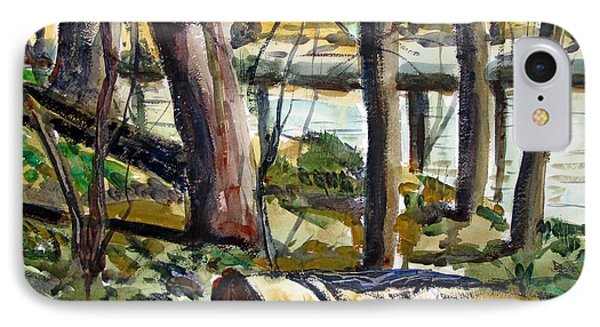 IPhone Case featuring the painting Roadside Park Along The Wabash River by Charlie Spear