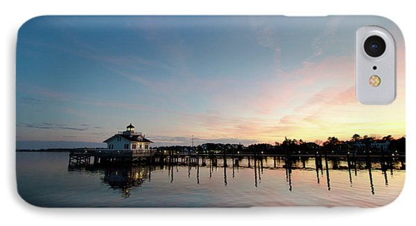 Roanoke Marshes Lighthouse At Dusk IPhone Case by David Sutton