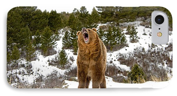Roaring Grizzly In Winter IPhone Case