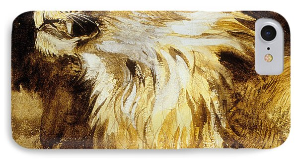 Roaring Lion IPhone Case by Ferdinand Victor Eugene Delacroix