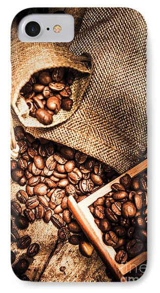 Roasted Coffee Beans In Drawer And Bags On Table IPhone Case by Jorgo Photography - Wall Art Gallery