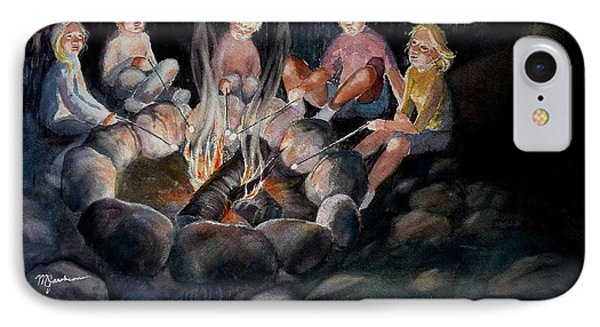 Roasting Marshmallows IPhone Case by Marilyn Jacobson
