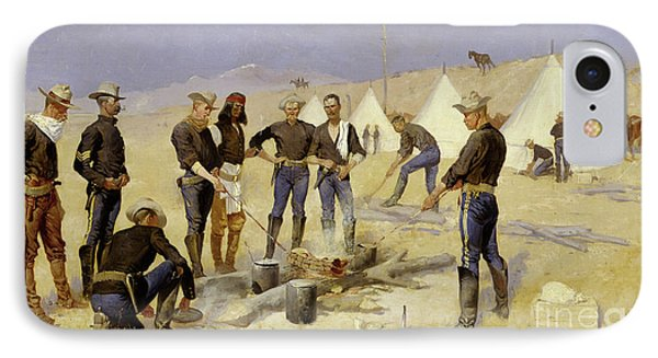 Roasting The Christmas Beef In A Cavalry Camp, 1892 IPhone Case by Frederic Remington