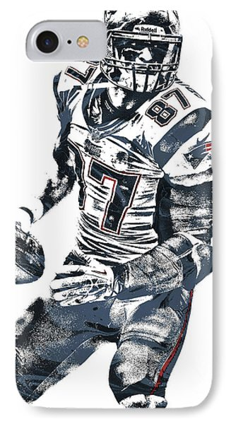 Rob Gronkowski New England Patriots Pixel Art 2 IPhone Case by Joe Hamilton