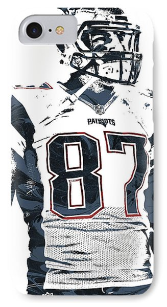 Rob Gronkowski New England Patriots Pixel Art 3 IPhone Case by Joe Hamilton