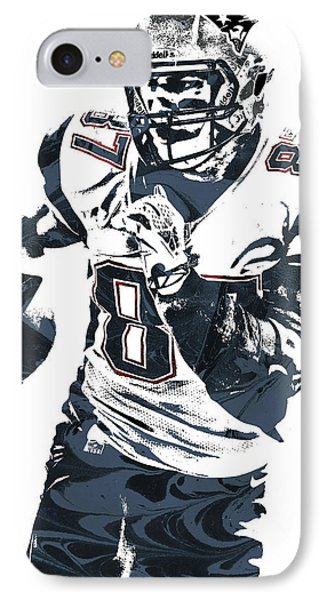 Rob Gronkowski New England Patriots Pixel Art 5 IPhone Case by Joe Hamilton