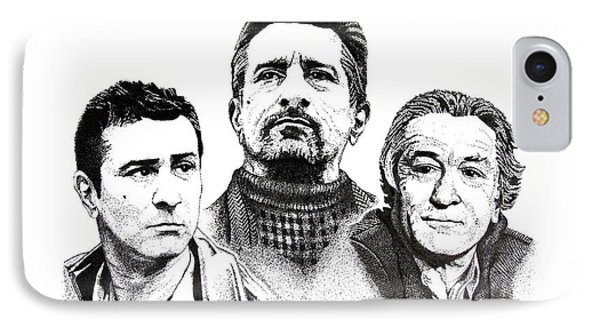 Robert De Niro Pen And Ink Drawing In Black And White IPhone Case by Mario Perez
