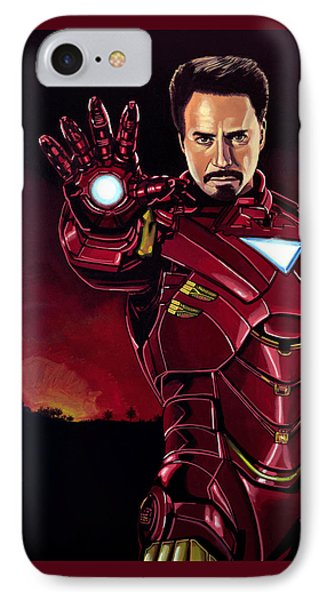 Robert Downey Jr. As Iron Man  IPhone Case by Paul Meijering