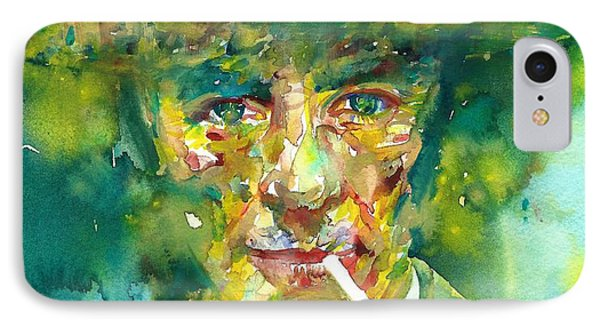 IPhone Case featuring the painting Robert Oppenheimer - Watercolor Portrait.2 by Fabrizio Cassetta
