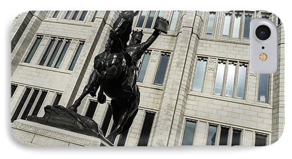 Robert The Bruce - Scotland National Hero Equestrian Statue At Marischal College In Aberdeen IPhone Case by Georgia Mizuleva
