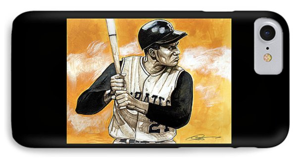 Roberto Clemente IPhone Case by Dave Olsen