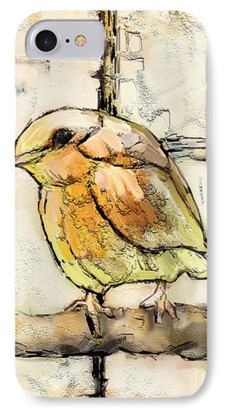 IPhone Case featuring the mixed media Robin Collage by Carrie Joy Byrnes