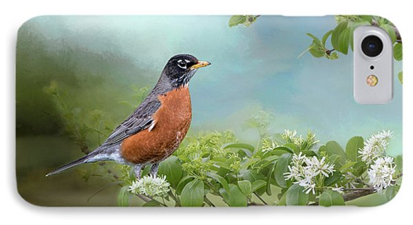 Robin In Chinese Fringe Tree IPhone Case by Bonnie Barry
