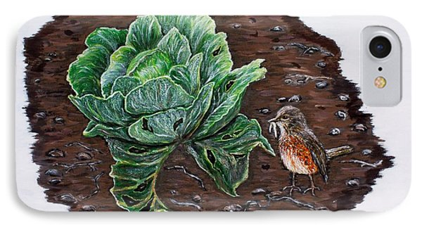 IPhone Case featuring the painting Robin In The Gardin by Judy Kirouac