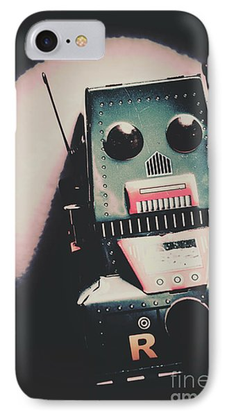 Robotic Mech Under Vintage Spotlight IPhone Case by Jorgo Photography - Wall Art Gallery