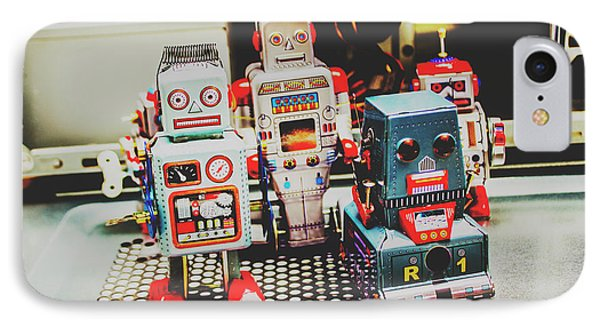 Robots Of Retro Cool IPhone Case by Jorgo Photography - Wall Art Gallery