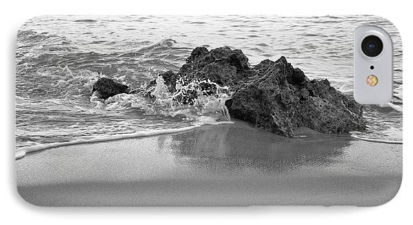 Rock And Waves In Albandeira Beach. Monochrome IPhone Case by Angelo DeVal