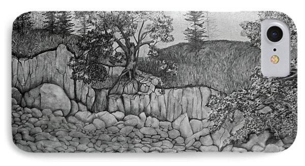 IPhone Case featuring the drawing Rock Beach by John Stuart Webbstock
