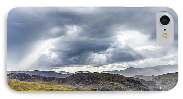 IPhone Case featuring the photograph Rock Formation Landscape With Clouds And Sun Rays In Ireland by Semmick Photo