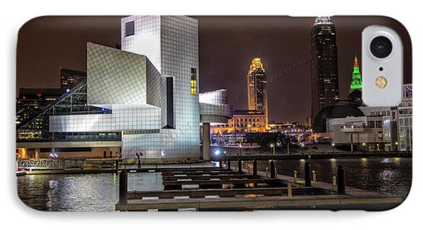 IPhone Case featuring the photograph Rock Hall Of Fame And Cleveland Skyline by Peter Ciro