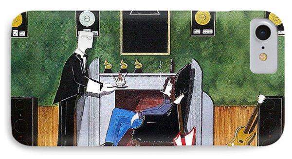 Rock Star Sitting In Chair Served A Sundae By Butler IPhone Case by John Lyes