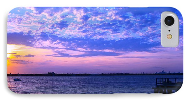Rockaway Point Dock Sunset Violet Orange IPhone Case by Maureen E Ritter